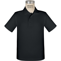 Black Short Sleeve Performance Polo with School Logo