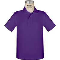 Purple Short Sleeve Performance Polo with School Logo