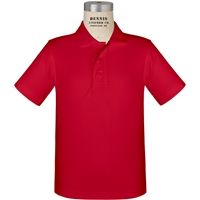 Red Short Sleeve Performance Polo with School logo