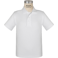 White Short Sleeve Performance Polo with School Logo