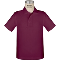 Wine Short Sleeve Performance Polo with School logo
