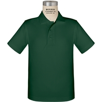 Green Short Sleeve Performance Polo with School logo