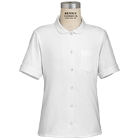 White Short Sleeve Jersey Blouse with School Logo