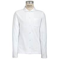 White Long Sleeve Pique Blouse