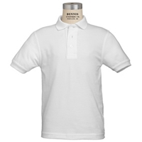 White Short Sleeve 100% Cotton Jersey Polo with School Logo