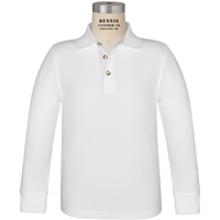 White Long Sleeve 100% Cotton Pique Polo with School Logo