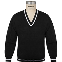 Black V-Neck Pullover Sweater with School Logo
