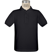 Black Short Sleeve Pique Polo with School logo