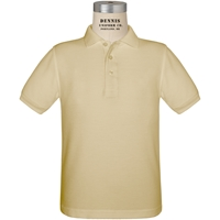 Khaki Short Sleeve Pique Polo with School Logo