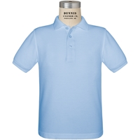 Light Blue Short Sleeve Pique Polo with School Logo
