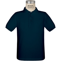 Navy Short Sleeve Pique Polo w/Geneva fiberlok