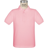 Pink Short Sleeve Pique Polo with School Logo