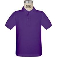 Purple Short Sleeve Pique Polo with School Logo