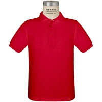 Red Short Sleeve Pique Polo with School logo