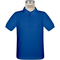 Royal Short Sleeve Pique Polo with School logo