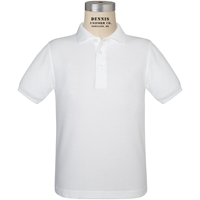 White Short Sleeve Pique Polo with School logo