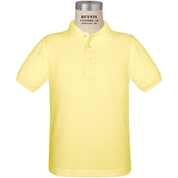 Yellow Short Sleeve Pique Polo with School Logo