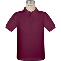 Wine Short Sleeve Pique Polo with School logo