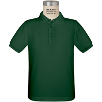 Green Short Sleeve Pique Polo with School logo