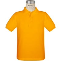 Gold Short Sleeve Pique Polo with School Logo