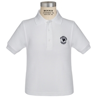 White Short Sleeve Pique Polo with Primrose logo