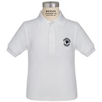 White Short Sleeve Pique Polo with Primrose logo