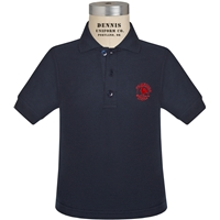 Navy Short Sleeve Pique Polo with Primrose logo