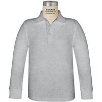 Ash Long Sleeve Pique Polo with School Logo