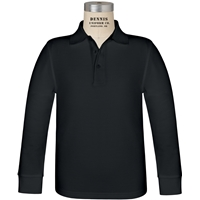 Black Long Sleeve Pique Polo with School logo