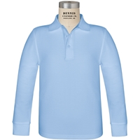 Light Blue Long Sleeve Pique Polo with School logo