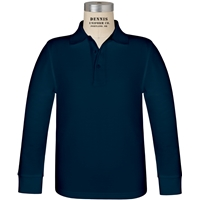Navy Long Sleeve Pique Polo with School Logo