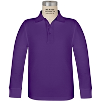 Purple Long Sleeve Pique Polo with School Logo
