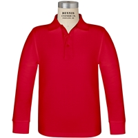 Red Long Sleeve Pique Polo with School logo