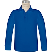 Royal Long Sleeve Pique Polo with School Logo
