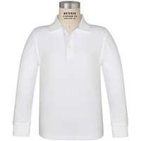White Long Sleeve Pique Polo with School Logo