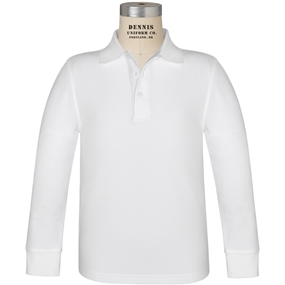 White Long Sleeve Pique Polo