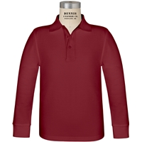 Cardinal Long Sleeve Pique Polo with School Logo
