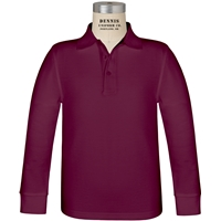 Wine Long Sleeve Pique Polo with School Logo