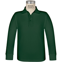 Green Long Sleeve Pique Polo with School logo