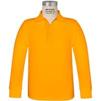 Gold Long Sleeve Pique Polo