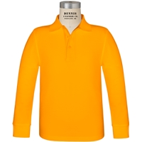 Gold Long Sleeve Pique Polo