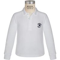 White Long Sleeve Pique Polo with Primrose logo