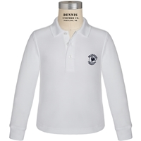 White Long Sleeve Pique Polo with Primrose logo