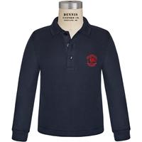 Navy Long Sleeve Pique Polo with Primrose logo