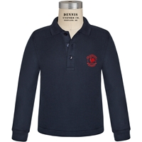 Navy Long Sleeve Pique Polo with Primrose logo