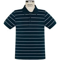 Navy with White Stripe Short Sleeve Pique Polo with School Logo