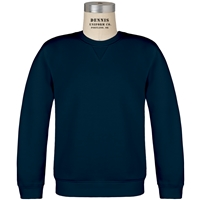 Navy Classic Crew Gusset Front Neck Pull Over Sweatshirt with School Logo