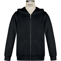 Black Zip-Up Hooded Sweatshirt with School Logo