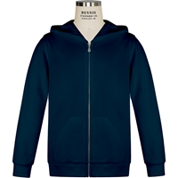 Navy Zip-Up Hooded Sweatshirt with School Logo