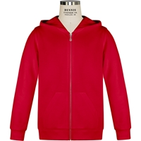 Red Full Zip Hooded Sweatshirt with School Logo